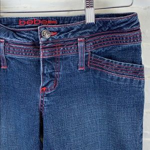 bebe Boot Cut Jeans With Red Stitching